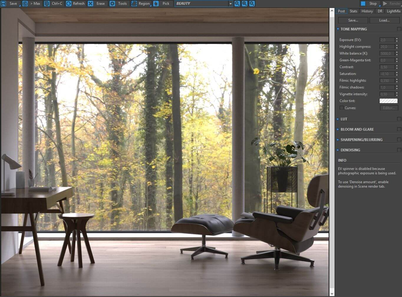Autumn mood forest interior. Making of interior by 3Dmitri.