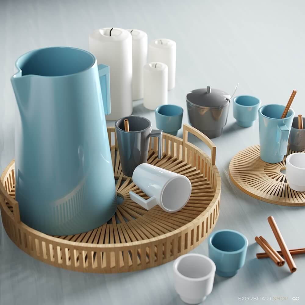 3D model Scandinavian decor for the kitchen visualization