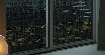 Rain drops on glass in 3ds max and Particle Flow
