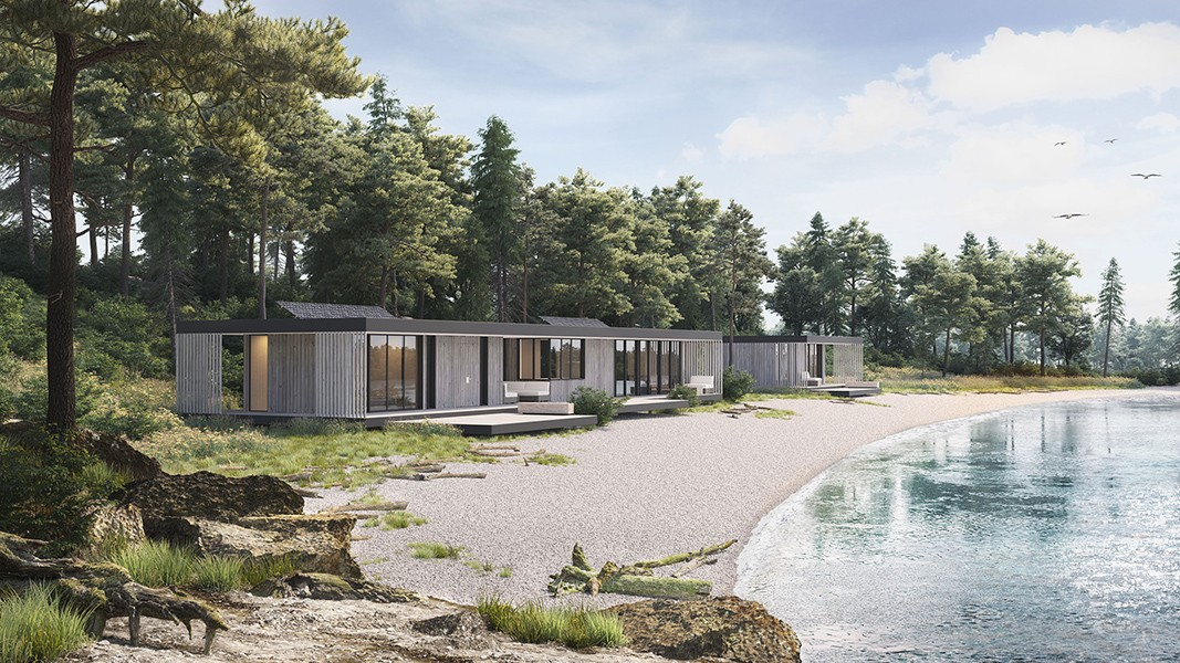 3d rendering house by the sea