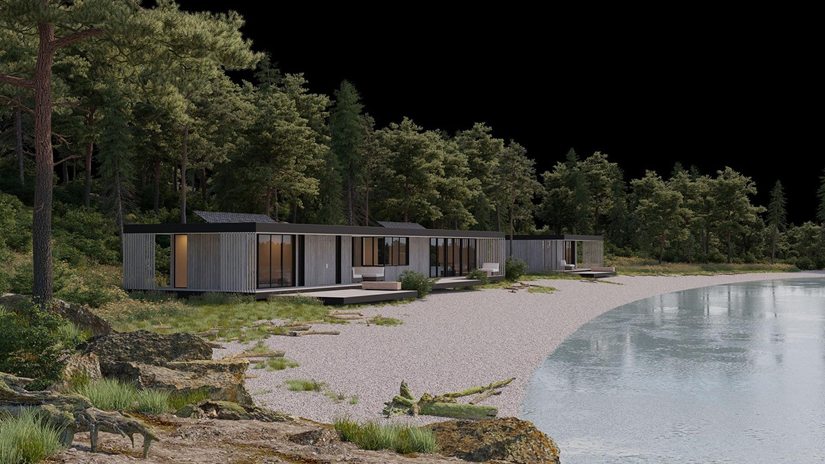 3d rendering house by the sea modeling